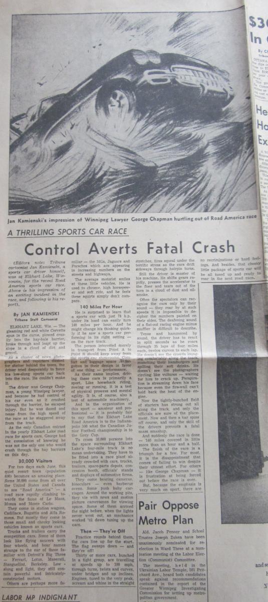 Chapman Crash at Elkhart Lake - July 11, 1959 Winnipeg Tribune