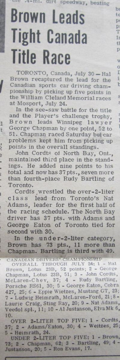 1966 Canadian Drivers' Championship - Mosport July 30, 1966
