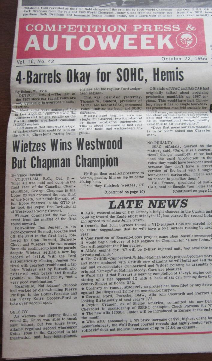 1966 Canadian Drivers' Championship - Westwood October 2, 1966 - 1 of 2