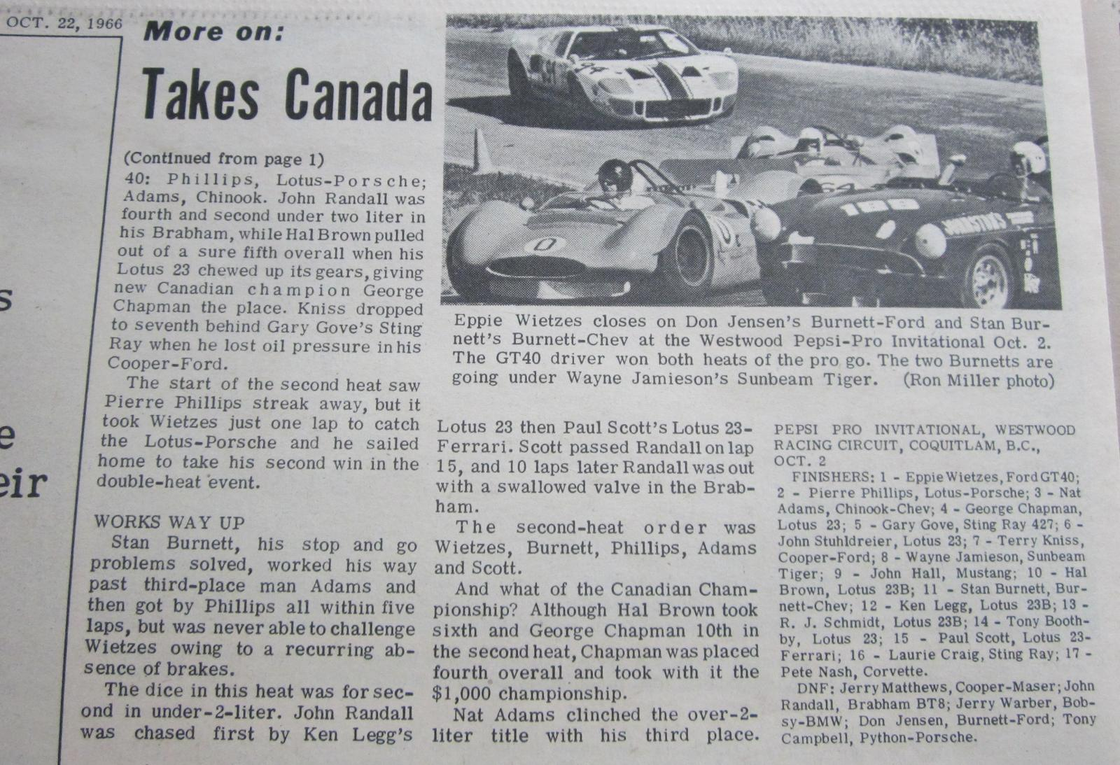 1966 Canadian Drivers' Championship - Westwood October 2, 1966 - 2 of 2