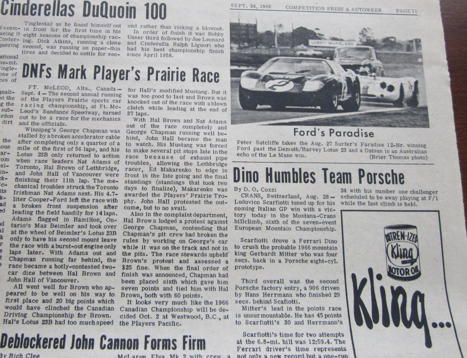 1966 Canadian Drivers' Championship - Fort McLeod September 4, 1966