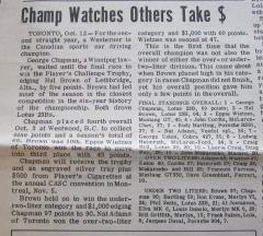 1966 Canadian Drivers' Championship - George Crowned Champion October 12, 1966
